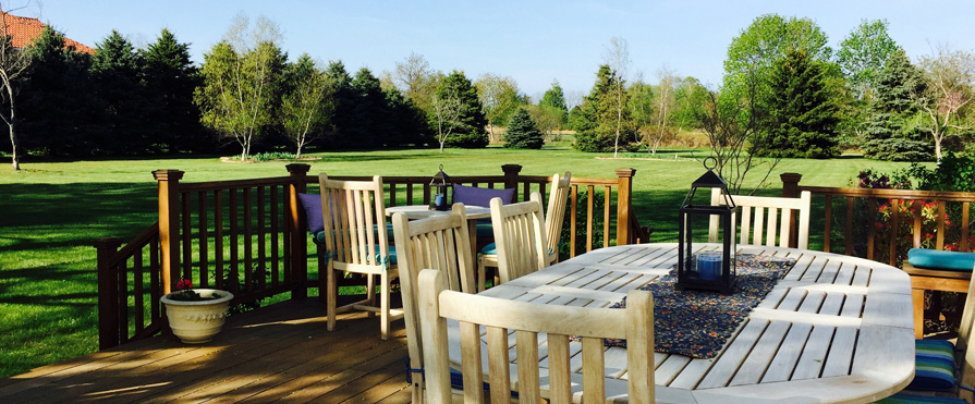 Enjoy coffee or a glass of wine on our tranquil deck
